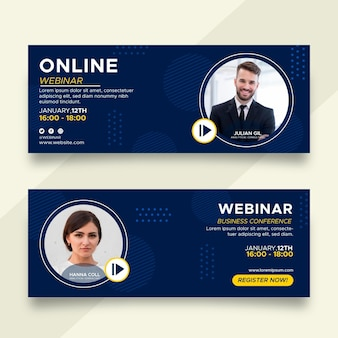 Webinar banners design set