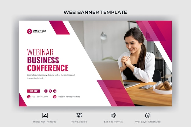 Webinar business conference web banner and youtube thumbnail template