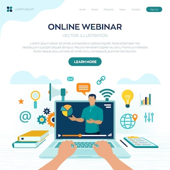 Webinar. coaching. e-learning landing page