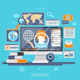 ウェビナーのコンセプト。オンライン教育、eトレーニング、インターネット学習、webセミナーのイラスト