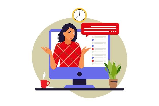 Концепция вебинара. онлайн-образование. видеоконференция или лекция. векторная иллюстрация. плоский