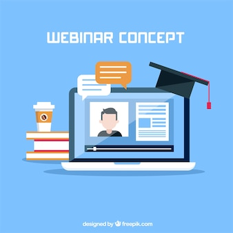 Webinar concept with hat on laptop