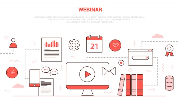 Webinar concept with icon set collection like computer video play chat calendar book network