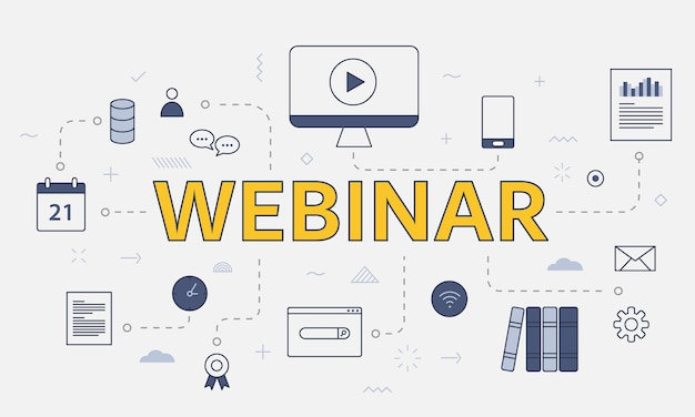 Webinar concept with icon set with big word or text on center vector illustration