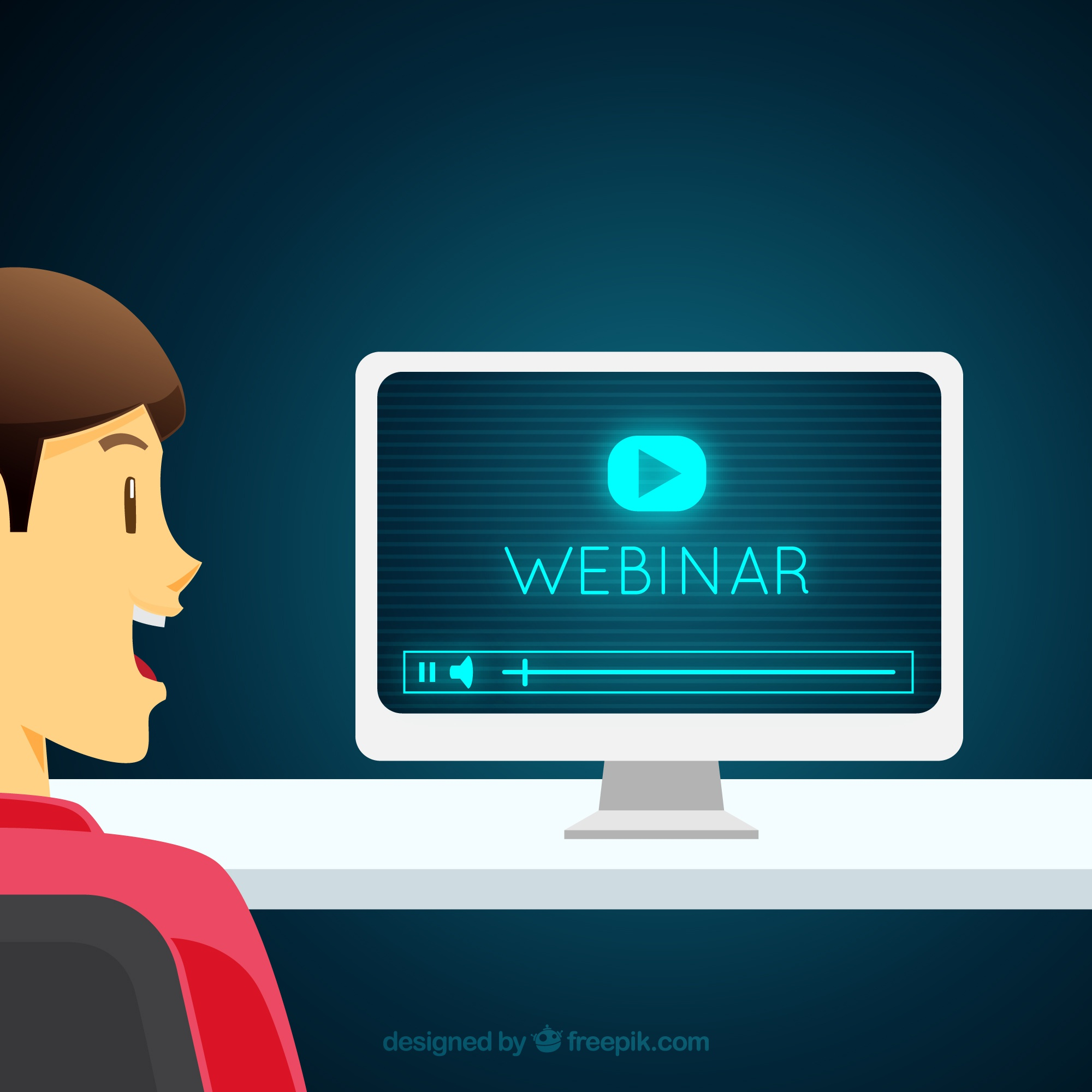 Webinar concept with man looking at screen