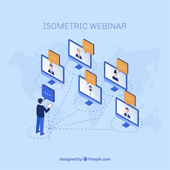 Webinar concept with man talking to five computers