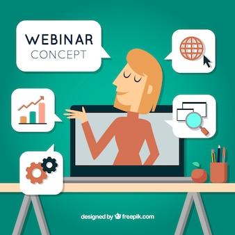 Концепция веб-семинара с женщиной в ноутбуке