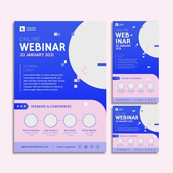Webinar flyer template pack with abstract shapes