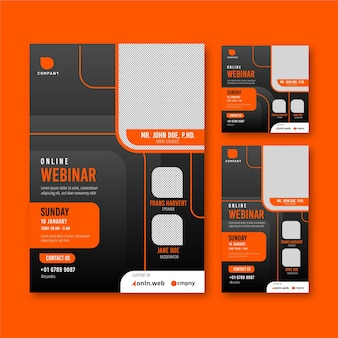 Webinar flyer template set with abstract shapes
