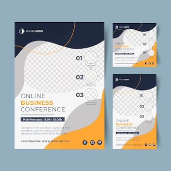Webinar flyer template with abstract shapes