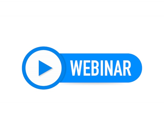 Webinar icon, flat design style with blue play button.