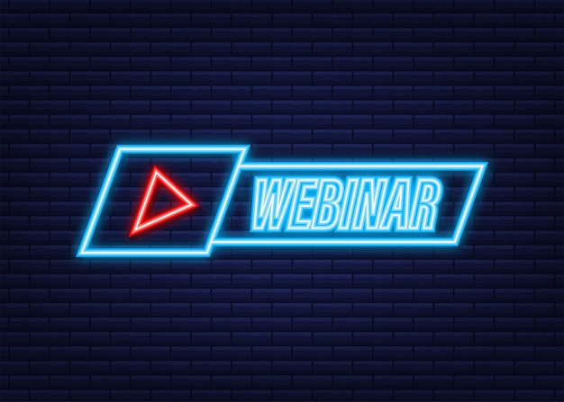 Webinar icon, flat design style with play button. neon icon. vector illustration.