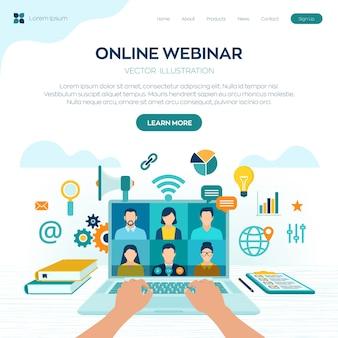 ウェブセミナー。インターネット会議。 webベースのセミナー。通信教育。 eラーニングトレーニングの概念。