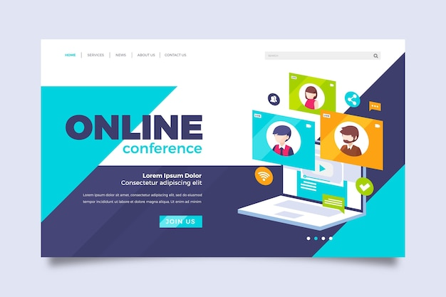 Webinar landing page template illustrated