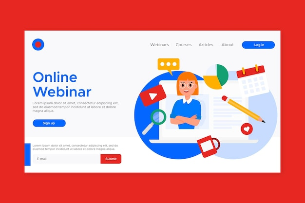 Webinar landing page template with illustrations