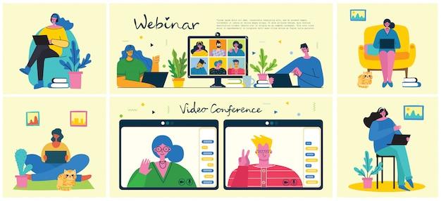 ウェビナーオンラインビジネスソリューション。人々はデスクトップとラップトップでビデオチャットを使用して会議を行います。自宅からリモートで作業します。フラットな近代的なイラスト。