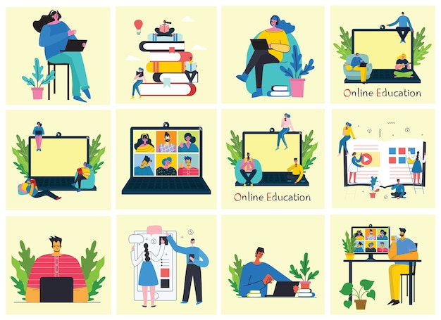 Webinar online concept illustration. people use video chat for conference.