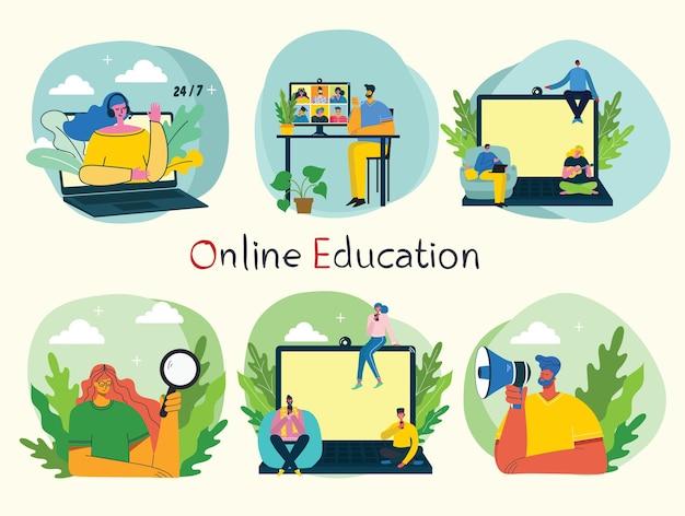 ウェビナーオンラインコンセプトイラスト。人々はデスクトップとラップトップでビデオチャットを使用して会議を行います。人々のビジネス活動のセット。自宅からリモートで作業します。フラットモダンなベクトルイラスト。