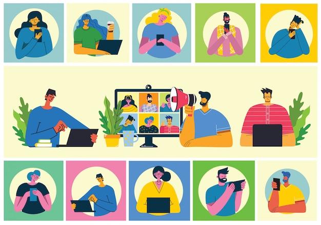 ウェビナーオンラインの概念図。人々はデスクトップとラップトップでビデオチャットを使用して会議を行います。自宅からリモートで作業します。フラットな近代的なベクトルイラスト。