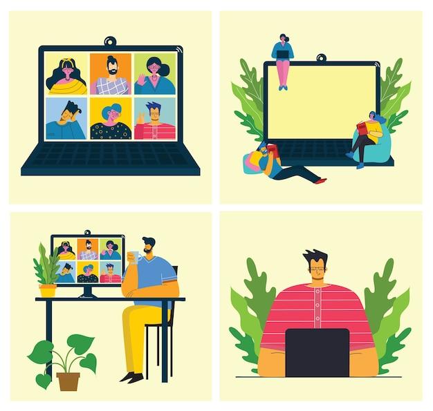 Вебинар онлайн концепции иллюстрации. работайте удаленно из дома. плоский современный рисунок.