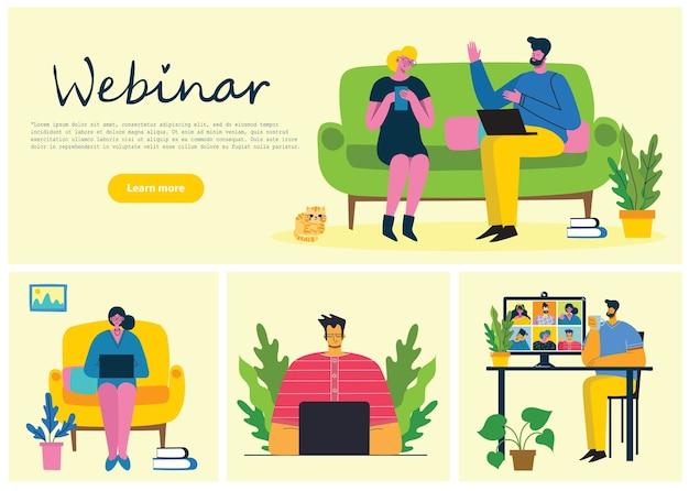 Вебинар онлайн концепции иллюстрации.