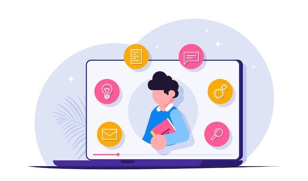 ウェビナー、オンライン会議、ウェビナー。遠隔学習方法。ノートパソコンの画面上の男