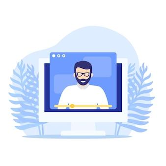 Webinar, online education, training or e-learning vector illustration
