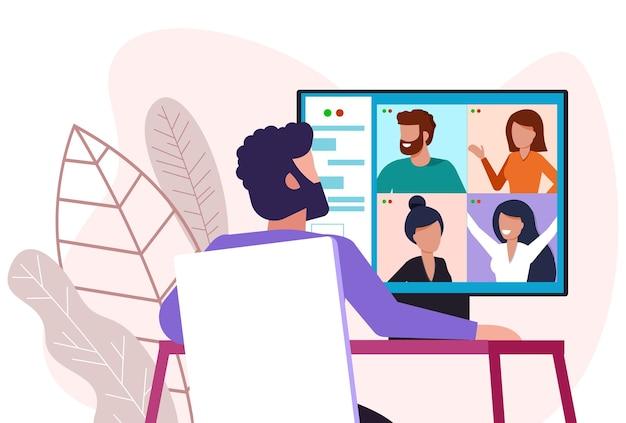 Вебинар, иллюстрация концепции онлайн-встречи.