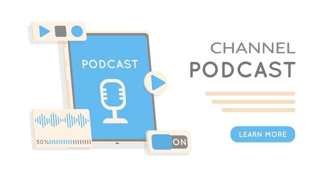 ウェビナーオンライントレーニングラジオ番組またはオーディオブログポッドキャストの概念