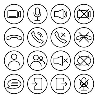 Иконки управления потоком вебинара или видеочатом. динамик, микрофон, видеокамера, телефон, запись и другие связанные значки. основные иконки для видеоконференции, вебинара и видеочата. вектор