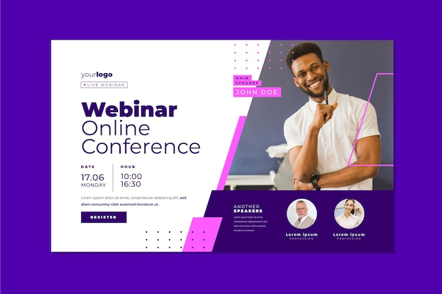 Webinar template banner invitation for online conference