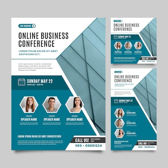 Webinar template online business conference flyer