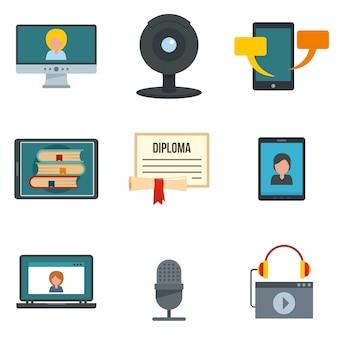 Webinar training online icons set