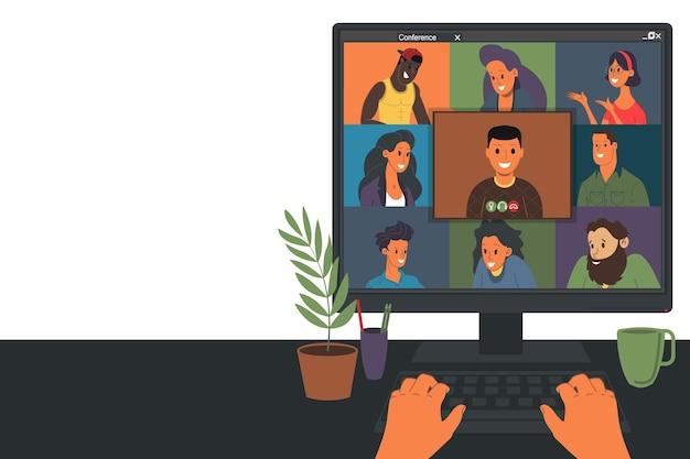 ウェビナーベクトルイラスト、オンライン会議、自宅での作業、フラットなデザイン。ビデオ会議、社会的距離、ビジネスディスカッション。キャラクターはオンラインで同僚と話している。一人称視点
