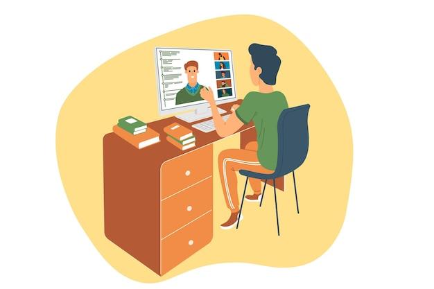 ウェビナーベクトルイラスト、オンライン会議、自宅での作業、フラットなデザイン。ビデオ会議、社会的距離、ビジネスディスカッション。キャラクターはウェビナーを見ているか、オンラインで同僚と話している。