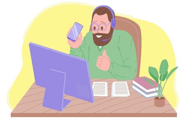 Webinar vector illustration, online meeting, work at home, blogging. video conferencing, social distancing, business discussion. the character is watching webinar or talking with colleagues online