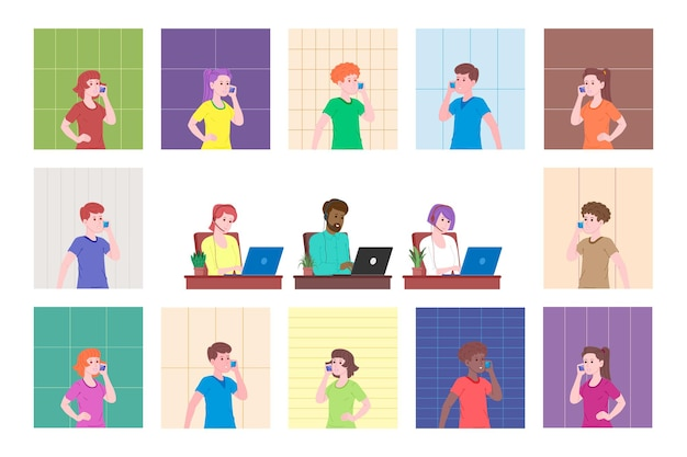 Webinar, video conferencing vector illustration, online meeting concept, work from home, flat design. teleworking, social distancing, business discussion. character talking with colleagues online.