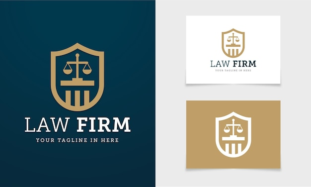 Weblogo concept with shield and scales of justice for law firm