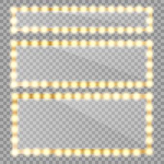 Webmakeupミラーは、ゴールドライトで分離されました。電球と鏡面反射を備えた円形と長方形のミラーフレーム。