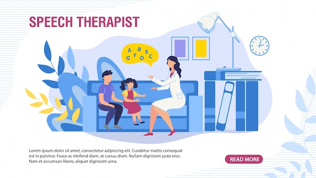 Webpage banner with children and speech therapist