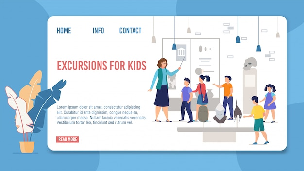 Webpage offer kids excursions to history museum