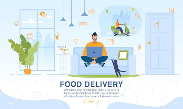 Webpage offering food home delivery online service