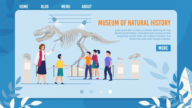 Webpage presenting natural history museum for kids