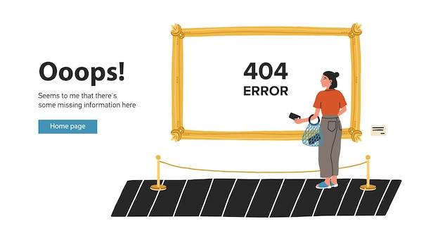 미술관이나 박물관에 있는 그림 앞에 서서 그것을 바라보는 젊은 여성이 있는 웹페이지 템플릿. 페이지를 찾을 수 없음, 웹 사이트 유지 관리 또는 오류 404. 플랫 만화 다채로운