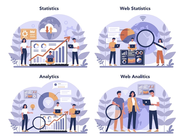 Website analysis concept set. web page improvement for business promotion as a part of marketing strategy. website analysis to get data for seo. isolated flat illustration