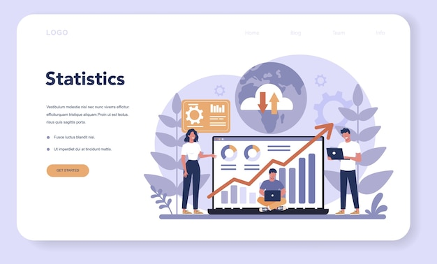 Website analysis concept web banner or landing page. web page improvement for business promotion as a part of marketing strategy. website analysis to get data for seo.