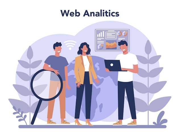 ウェブサイト分析の概念。マーケティング戦略の一環としてのビジネスプロモーションのためのwebページの改善。 seoのデータを取得するためのwebサイト分析。