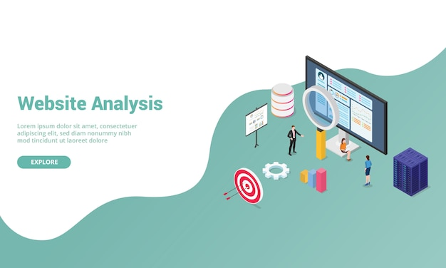 Website analysis data with graph and chart for website template or landing homepage with isometric modern style