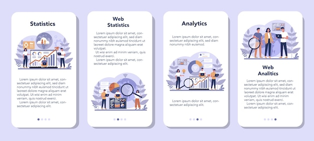 Website analysis mobile application banner set