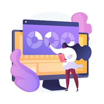 Analisi del sito web. analisi dei rapporti seo. grafici a torta, diagrammi, schermo del monitor del computer. presentazione annuale degli analisti aziendali e finanziari.